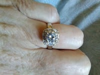 Silver, lab created 1ct hallo engagement ring 2050 mi