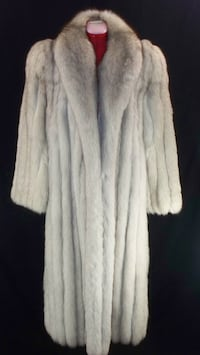 white and gray fur coat