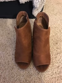 pair of brown leather chunky heeled booties Fullerton, 92831