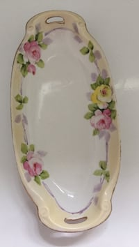Hand painted Nippon celery dish 8.5 in London bin wide, beautiful pastel colors