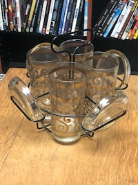 VINTAGE HIGHBALL GLASSES, COASTERS AND WIRE CADDY