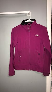 Purple north face zip up coat