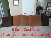 Six Faux Suede Replacement Sofa Couch Cushions Pil Glenarden