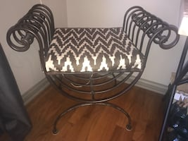 Wrought iron chair w/ cushion