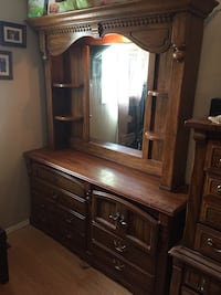 Real solid wood dresser/ mirror with shelving and light Calgary, T2W