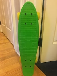 Bright Green Penny Board with Yellow Wheels