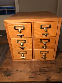 Antique 6 drawer index library card drawers /file cabinet  Solid wood St Catharines, L2N 5C2