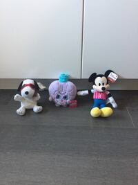 Snoopy, Mickey and Shopkins plush toys