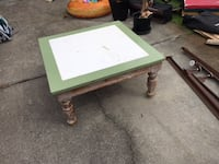 Rectangular green and white wooden coffee table 527 km