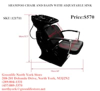 Barber/styling shop Shampoo chair and basin with adjustable sink Toronto