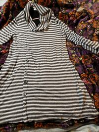 cut loose grey and white striped thin cowl neck sweater dress Portland