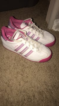 pair of white-and-pink Adidas sneakers Indianapolis, 46203