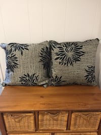 Set of Pewter and Black Throw Pillows Lincoln, L0R
