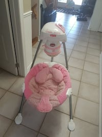 white and pink Fisher-Price cradle 'n swing