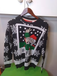 UGLY CHRISTMAS SWEATER - #ELFIE Men Size Med. NEW!  Santa Claus with his elf and # ELFIE. SELFIE Brand new, no original tags.  VIEW MY OTHER ADS!!! Toronto