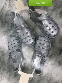 pair of gray leather open-toe sandals Brampton, L6T 4R1
