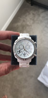 round silver chronograph watch with white link bracelet Livermore, 94551