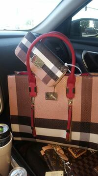 brown-red-and-white plaid leather handbag and long wallet