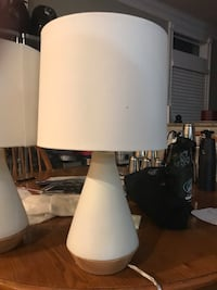 2- tapered ceramic with wood detail table lamps. Clover, 29710