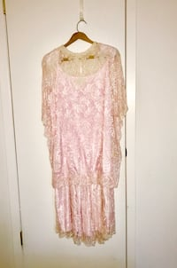 Beautiful 1 piece Pink Dress with White/Ivory  Lace Arlington Heights