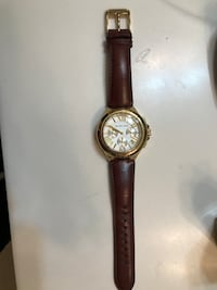 round gold chronograph watch with brown leather strap Talmo, 30575