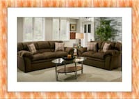 Chocolate fabric sofa and love seat free delivery Ashburn, 20147