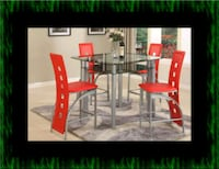 Red counter height table with 4 chairs Laurel