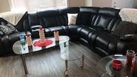 Real leather sectional sofa, power recliners