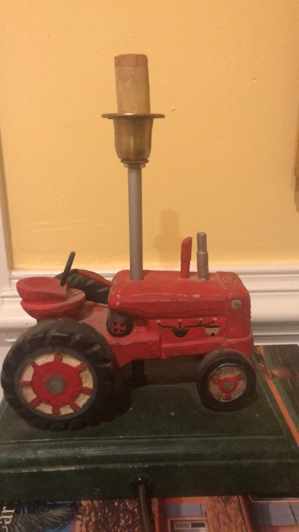Adorable wooden tractor lamp