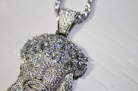 SOLID 925 SILVER ICED OUT FLOOED LAB SIM. DIAMONDS 25CT JESUS PENDANT W/ 60CT TENNIS CHAIN NECKLACE Delta