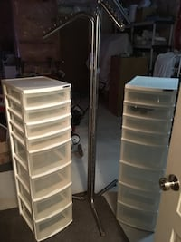 2  plastic storage bins, 8 drawers, 4 large and 4 small steel umbrella clothe stand. Comes apart Vaughan, L6A 0H4