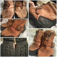 pair of brown leather work boots collage Laredo