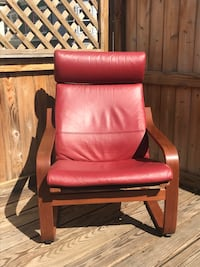 brown wooden framed red leather padded armchair Washington, 20010