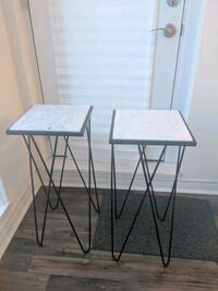 Two modern marble and black side tables  Mississauga