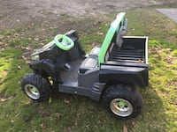 green and black ride on mower