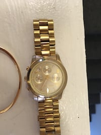 Round gold chronograph watch with link bracelet Greeneville, 37745