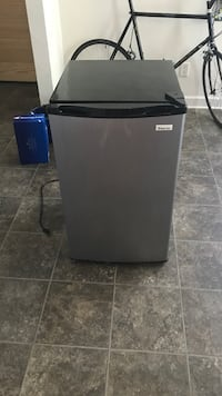 Black and gray compact refrigerator. Works perfect. Freezer storage section. Purchased last year for 129.99 Norfolk, 23508
