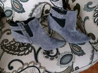gray suede heeled side-zip booties 407 mi