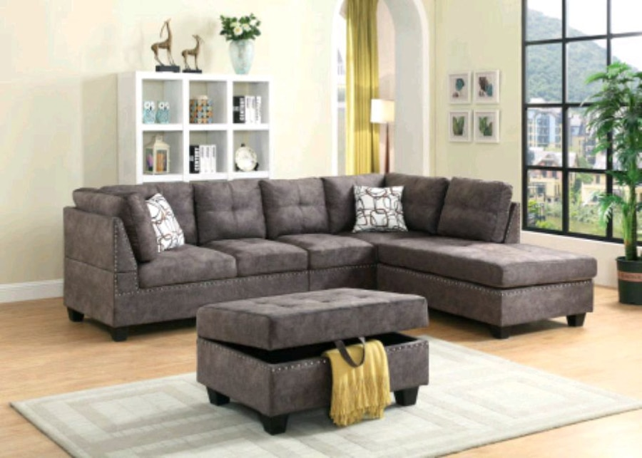used gray suede sectional couch with ottoman for sale in brampton rh gb letgo com