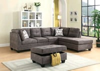 gray suede sectional couch with ottoman Brampton, L6R 3L1