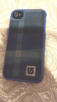 black iPhone 4 with blue case