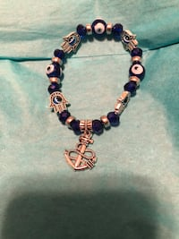 Evil eye bracelet with hands and anchor charm Asheville