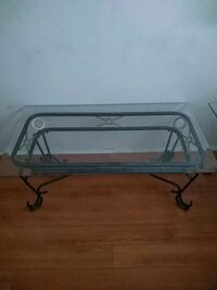 rectangular clear glass-top table with black steel base Los Angeles, 90063