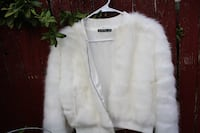 Brandy Melville White Faux Fur Bomber Jacket Las Cruces