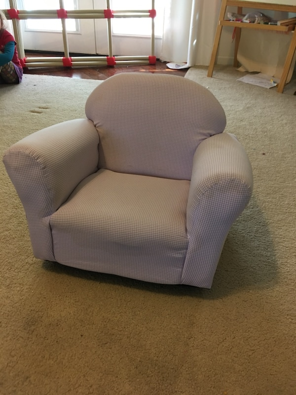 Superb Purple Gingham Kid Sized Rocking Arm Chair Gmtry Best Dining Table And Chair Ideas Images Gmtryco