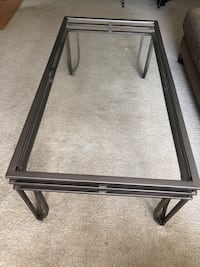 Glass coffee table and 2 side tables