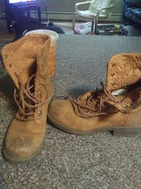 pair of brown suede work boots