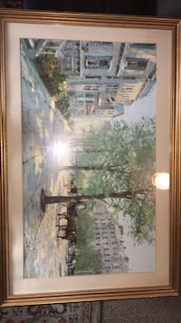 brown wooden framed painting of house Watervliet, 49098