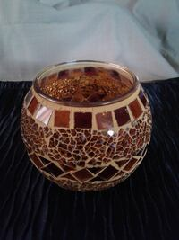 NOW $8 from $10 ** Cut Glass Candle Holder - Warm Brown/Amber Tones