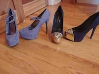 two pairs of gray and black heels Toronto, M1N 1J3